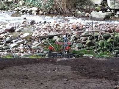 Memorial Flowers Planted Where Two Men Lost Their Lives