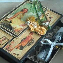Romantic Themed Altered Book with Open Drawer