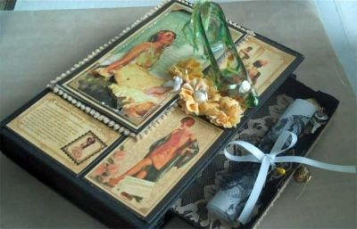 Romantic Altered Book with Drawer Open