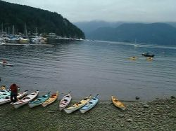 Kayaks at Deep Cove Canoe and Kayak Club