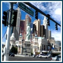 New York New York with the Las Vegas Boulevard sign