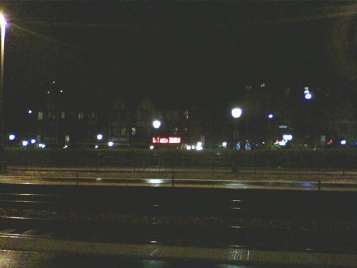 Arlington Heights Metra Station at night.