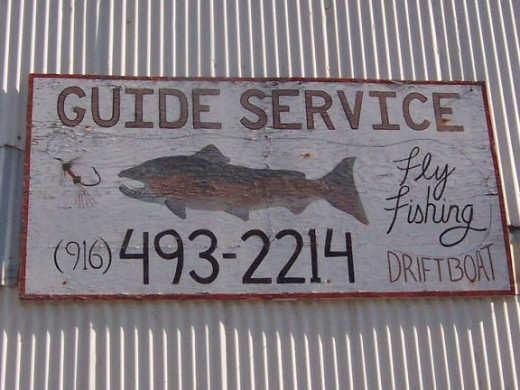 Ron's fishing guide service is in an old service station building.