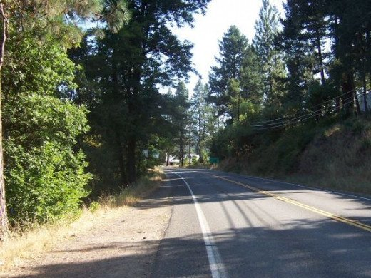 Time to walk up the hill - Highway 96 - the Bigfoot Scenic Byway.