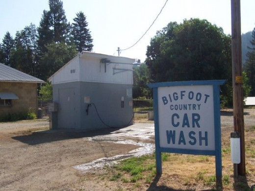 The Bigfoot Car Wash is across the street from the forest service office.