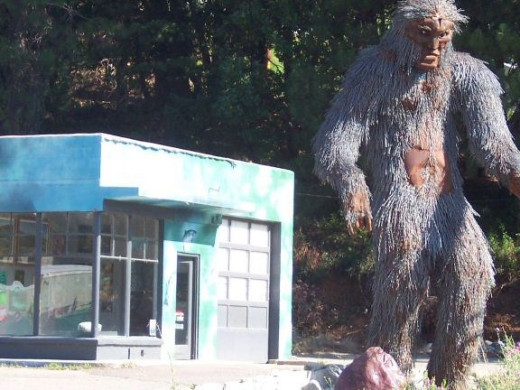 The Bigfoot statue and the Klamath-Siskiyou Art Center.