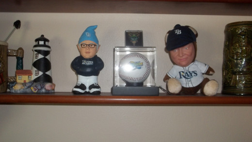Our Tampa Bay Rays Memorabilia Collection. We have a first game ball and pin. A Zim Bear and a Joe Madden Nome. More will be added I am sure