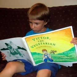 My younger son reading Victor, the Vegetarian.