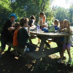 Vegan families enjoying a picnic together
