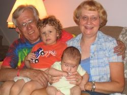 My vegan children with grandparents. Photo by Valerie Bloom
