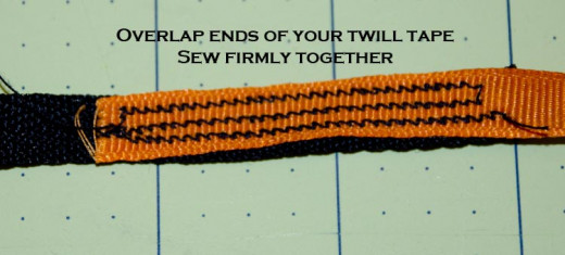 Firmly attach your twill tape together to make one long line. I used an overlap of two inches.