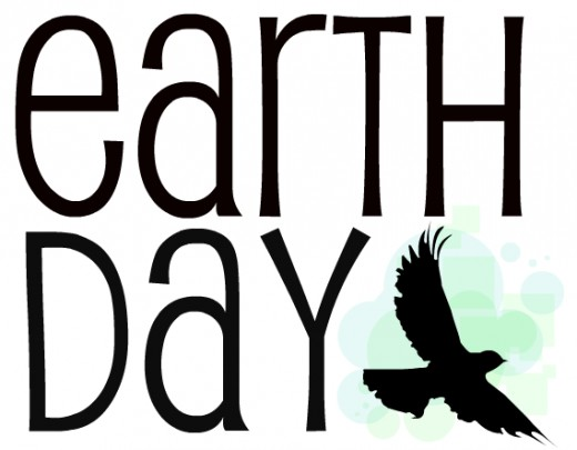 World Earth Day clip art black with soaring eagle