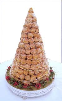 Contemporary example of croquembouch, one of the earliest forms of wedding cake