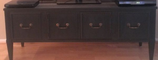 LR TV Cabinet with fluted corners and legs: (Originally stained, I painted it black) $50