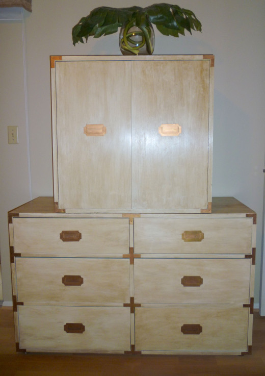 Master BR Campaign Furniture: (Originally stained; exterior now off white, drawer & cabinet interiors now blue/green, hardware now copper/bronze) $60