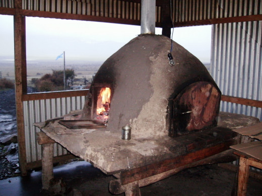 A brick oven where we cook all kinds of tasty dishes.