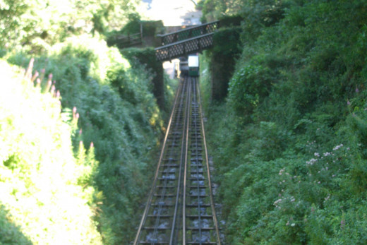Taking this funicular, the Victorian water-powered Railway, you arrive at Lynton, 150 yards above Lynmouth.