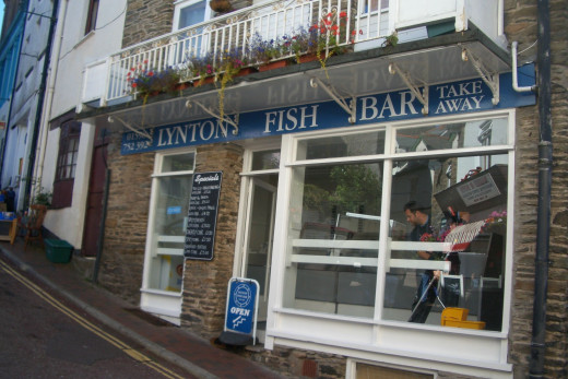 A typical Fish 'n chips shop with fresh kippers brought in to Lynmouth on the local fishing boats.