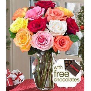 One Dozen Rainbow Roses with FREE Chocolates.