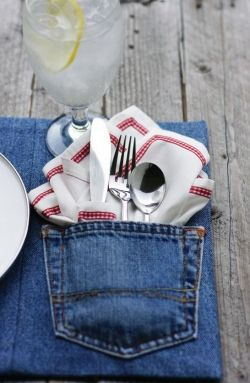 Used jean place-mats