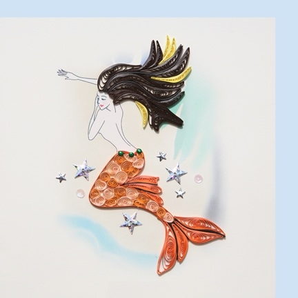 Mermaid Long Brown Hair- Folded Card