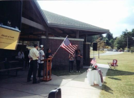 The Flag Salute, Pledge of Allegance and Silent Prayer were led by Pastor Luke Douglas (Cornerstone Church of the Nazarene)