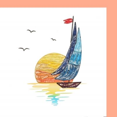 Sail Boat on Sunset  6x6 inch quilled card