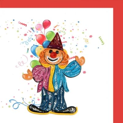 Fine Filegree Detail - 6x6 Birthday Party Clown