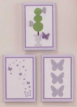 Set of 3 Canvas Wall Art hangings with embroidery embellishments.  Each measures 8 x 12 inches.•Saw tooth wall hook is attached for easy hanging
