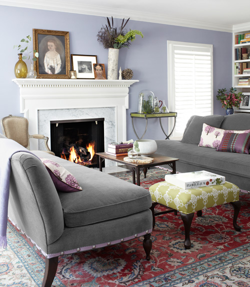 Try painting lavender walls to a slate gray colored motife. Look for vintage rugs and ottomans at yard sales.