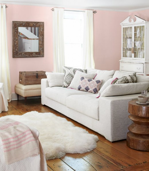 Looks like pink doesn't it? The walls are actually a light peach even though the pillows have pink in them.