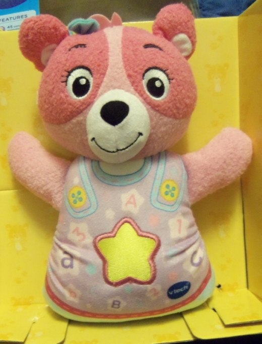 The bear is soft and easy to snuggle to at night or daytime play.  Plus a feature we love, it's washable.