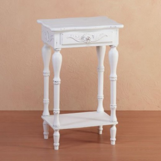 Elegant Carved White Side or Night Table  Available on Amazon
