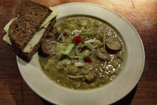 green split pea soup with smoked sausages