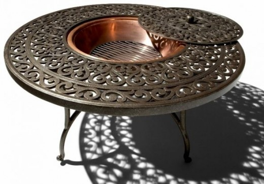 Cast-Aluminum Fire Pit with Tables are among the hot trends for this year.  This is available from Amazon.