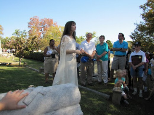 Reenactment at the Maple Hill Cemetery Stroll telling of Sally Carter's tragic story.
