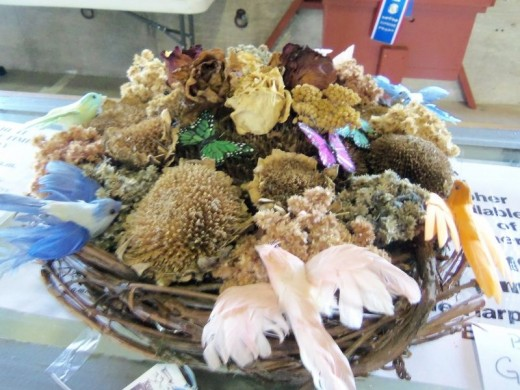 Dried flower arrangement.