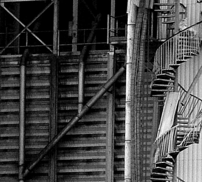 Stairs on a broken down factory building