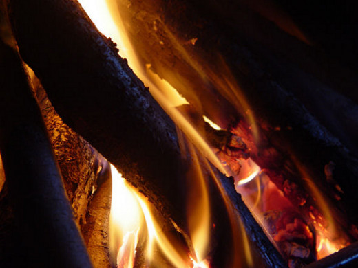 The fire in our wood stove