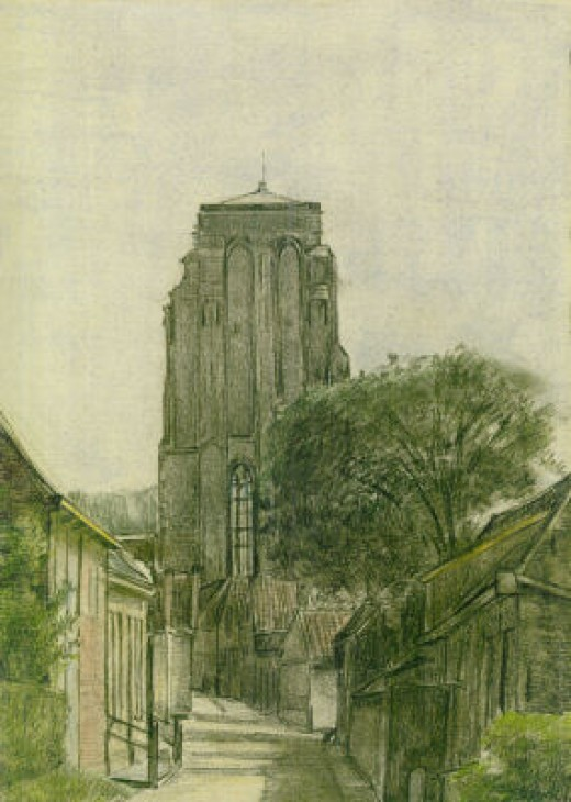 Drawing of the tower of Zierikzee, by my Dad Synco Schram de Jong at the age of 20