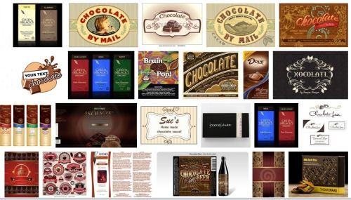 Chocolate labels in chocolate mass production