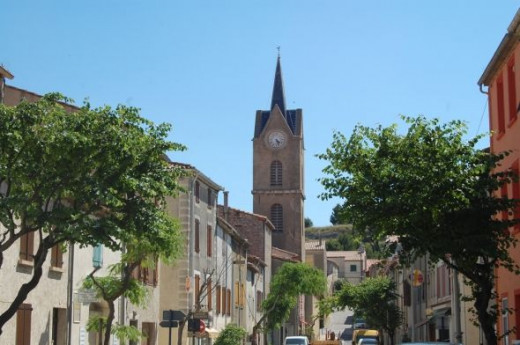 Leucate town with the church presiding over affairs