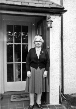 Great grandma in 1959 outside Belmonte in Newtonmore, Scotland