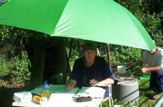 Very, very hot inspection, temp was about 32C (89.6F) I'm sitting under my fishing umbrella.