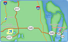 Orlando International Airport to Port Canaveral Map