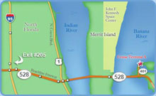 Map to Port Canaveral from Northern Florida