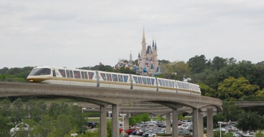 Disney World Monorail and Cinderella's Castle at the Magic Kingdom