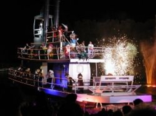 Fantasmic at Disney's Hollywood Studios - Boat with Disney Characters