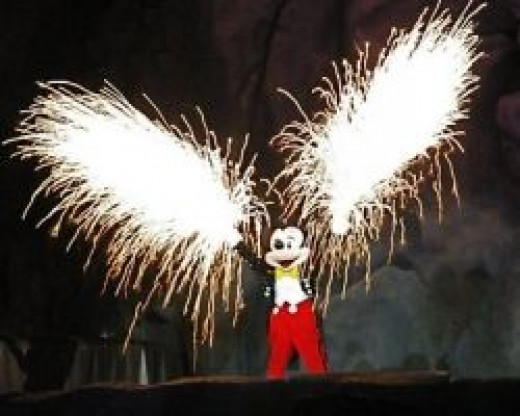 Mickey Mouse in the Fantasmic Show at Disney's Hollywood Studios Theme Park