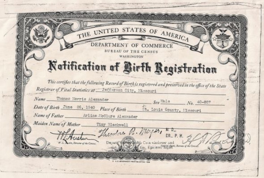 "My father's birth certificate. They misspelled my grandfather's first name on the certificate, it's supposed to be ""Arling""."